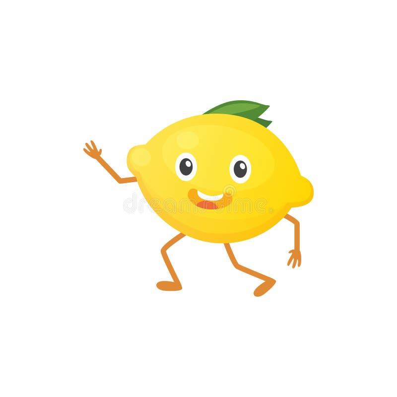 Иллюстрация вектора с смешным характером лимона время свежих продуктов иллюстрация вектора