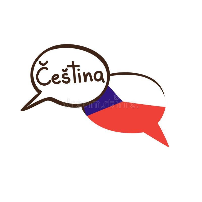Иллюстрация вектора с флагом и языком чехии бесплатная иллюстрация
