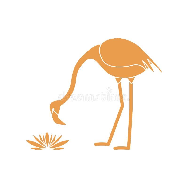 Иллюстрация вектора с цветками лилий птицы и воды фламинго Дизайн для плаката или печати иллюстрация вектора