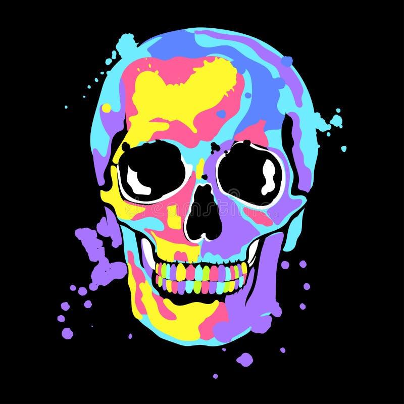 Иллюстрация вектора с черепом и цветом брызгает иллюстрация вектора