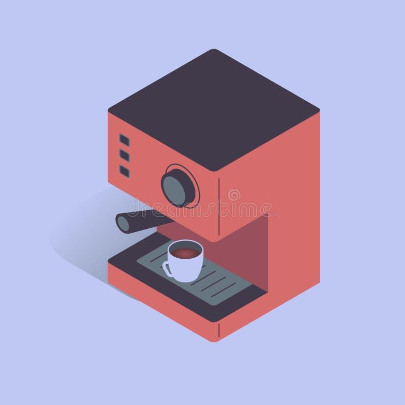 Иллюстрация вектора с электрической машиной кофе 3D Оборудование кофе в равновеликом плоском стиле бесплатная иллюстрация