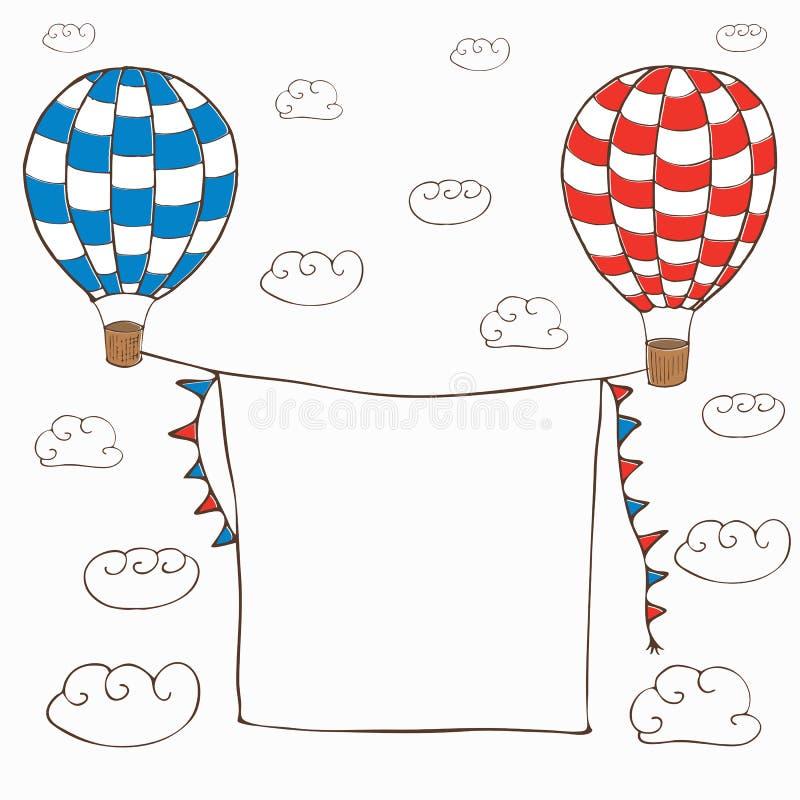 Иллюстрация вектора с 2 baloons горячего воздуха стоковые изображения