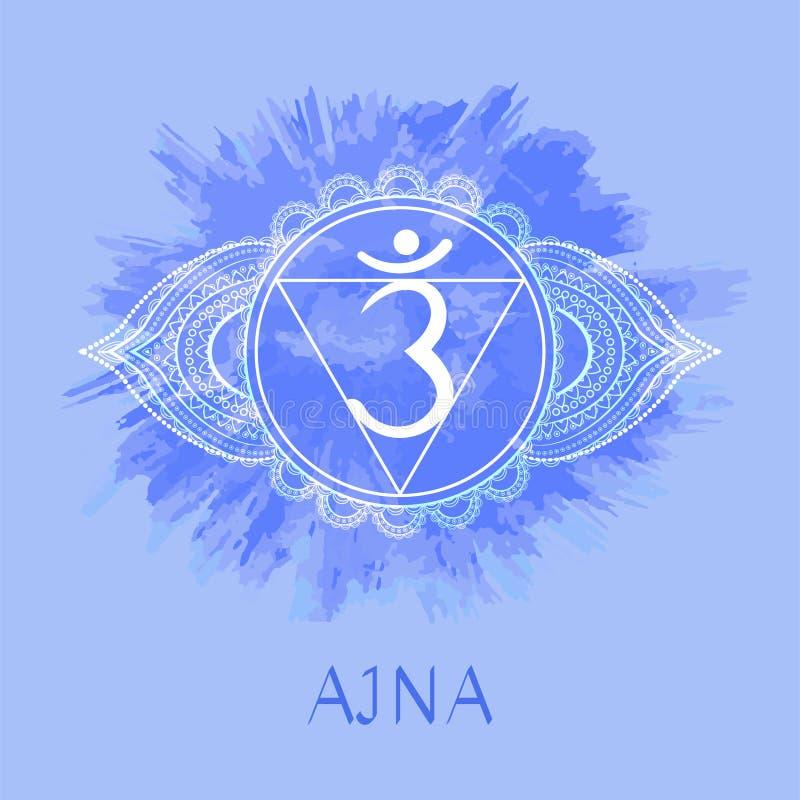 Иллюстрация вектора с chakra Ajna символа на предпосылке акварели иллюстрация вектора