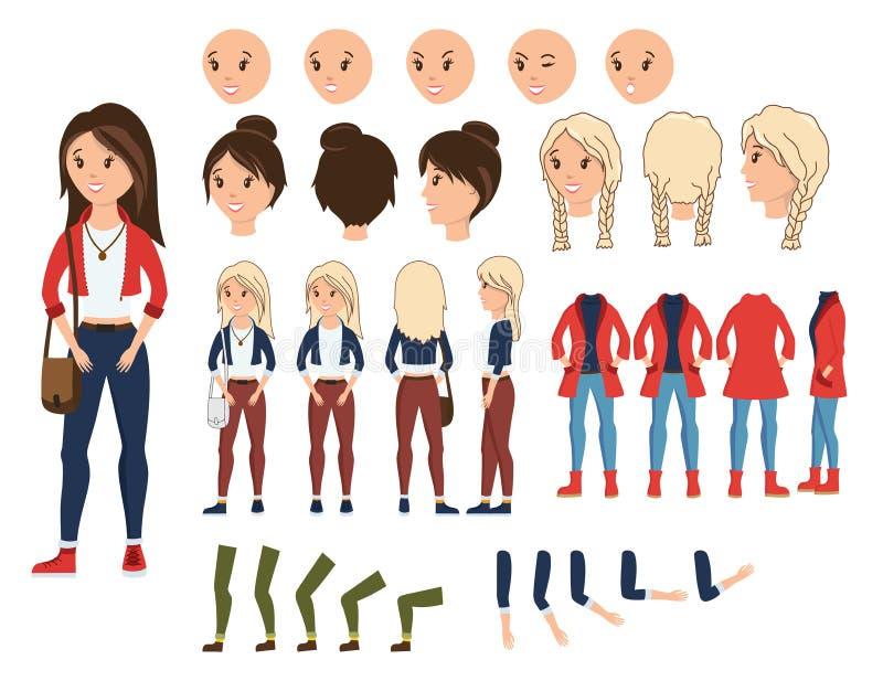 Иллюстрация вектора творения характера девушки установленная Женский конструктор с различной эмоцией на стороне, руке, ноге, пред иллюстрация штока