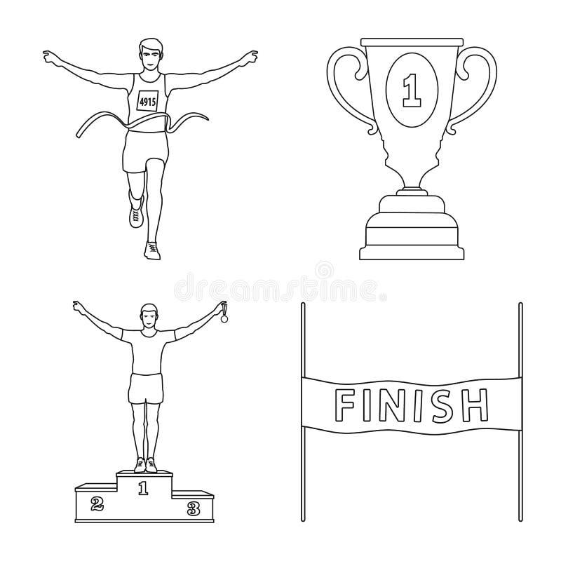 Иллюстрация вектора тренировки и знака спринтера Собрание сокращенного названия выпуска акций тренировки и марафона для сети иллюстрация вектора