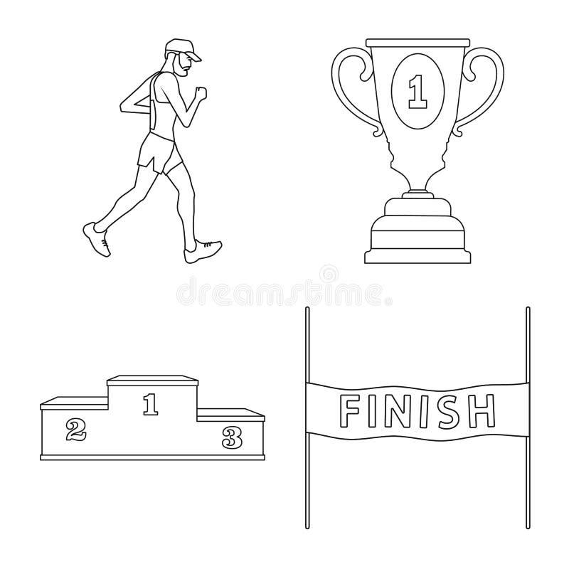 Иллюстрация вектора тренировки и логотипа спринтера Установите иллюстрации вектора запаса тренировки и марафона иллюстрация штока