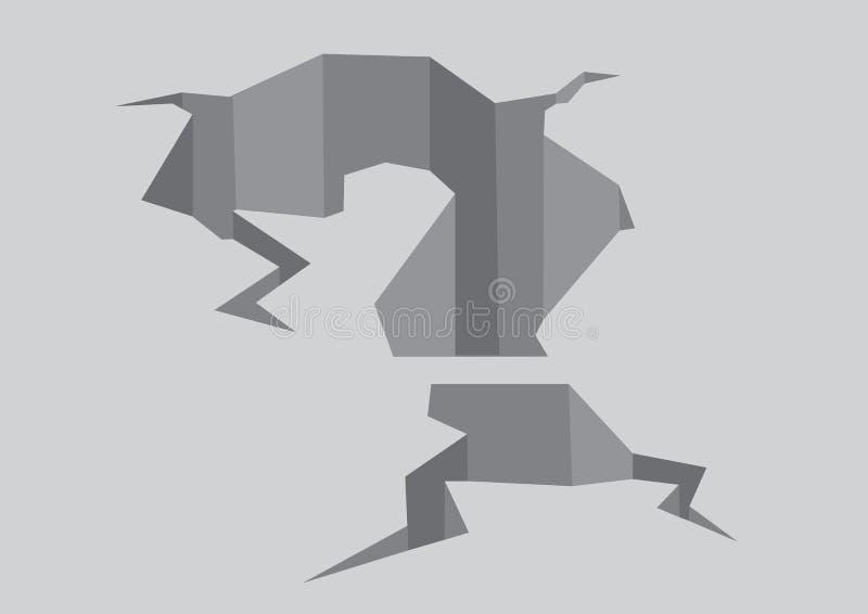 Иллюстрация вектора треснутого вопросительного знака в земле бесплатная иллюстрация