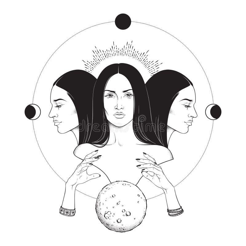 Иллюстрация вектора тройной лунной руки мифологии древнегреческого Hecate богини вычерченная черно-белая изолированная Blackwork, бесплатная иллюстрация