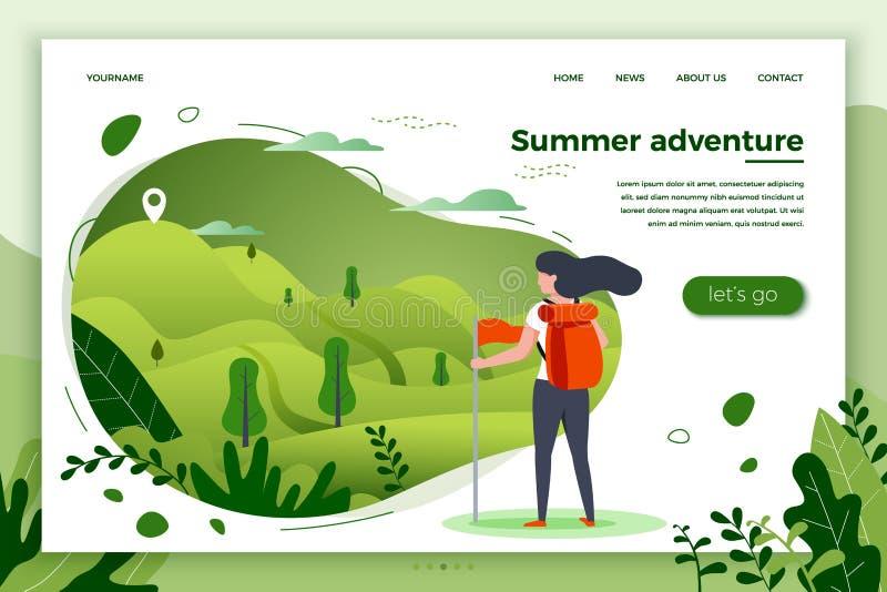 Иллюстрация вектора - туристские девушка и горы бесплатная иллюстрация