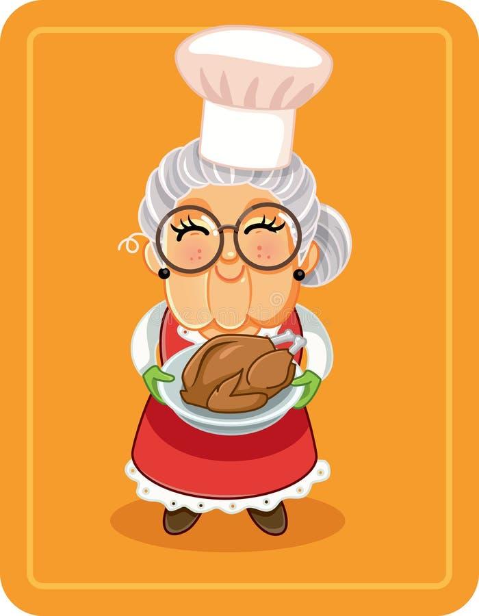 Иллюстрация вектора Турции бабушки зажаренная в духовке удерживанием иллюстрация вектора