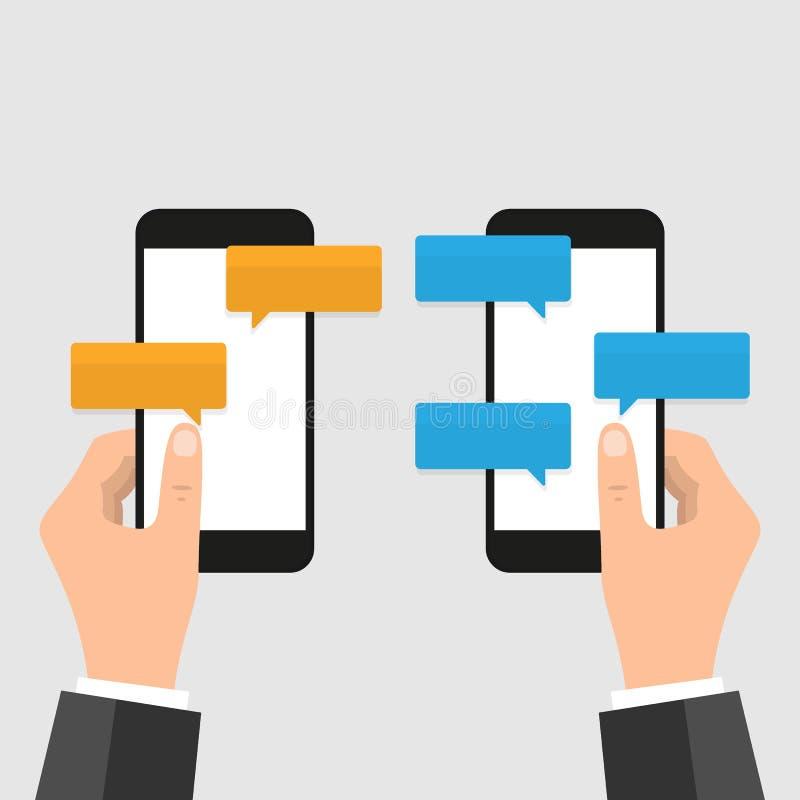 Иллюстрация вектора уведомлений сообщения болтовни мобильного телефона изолированная на предпосылке цвета, руке со смартфоном и б бесплатная иллюстрация