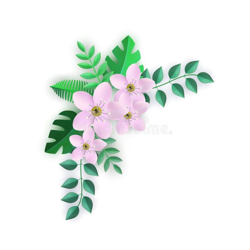 Иллюстрация вектора углового флористического состава с розовыми цветками и зелеными листьями иллюстрация вектора