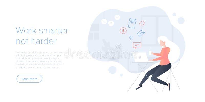 Иллюстрация вектора управления эффективного времени плоская Задачи или организация оказывать предпочтение молодой женщины для эфф иллюстрация вектора