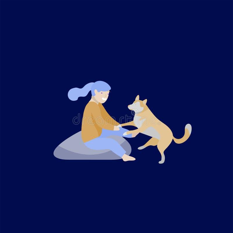 Иллюстрация вектора установила детей с котами и собакой Счастливые, смешные дети играя, любовь и позаботить о котята, любимец иллюстрация штока