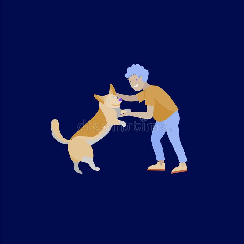 Иллюстрация вектора установила детей с котами и собакой Счастливые, смешные дети играя, любовь и позаботить о котята, любимец иллюстрация вектора