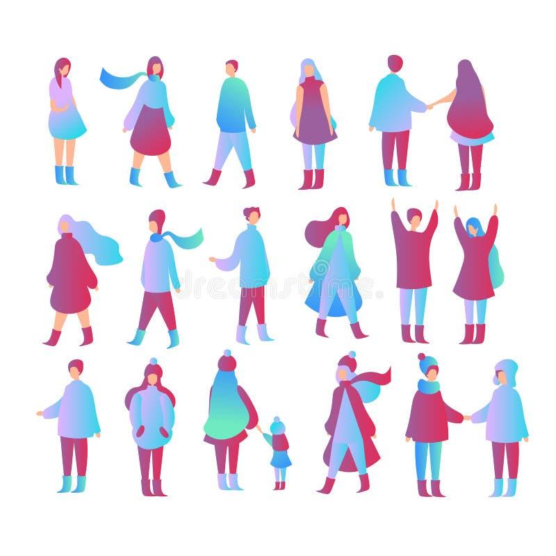 Иллюстрация вектора установила людей в различных представлениях, идущ с ребенк, положение, один другого встречи Мужчина и женщина иллюстрация штока