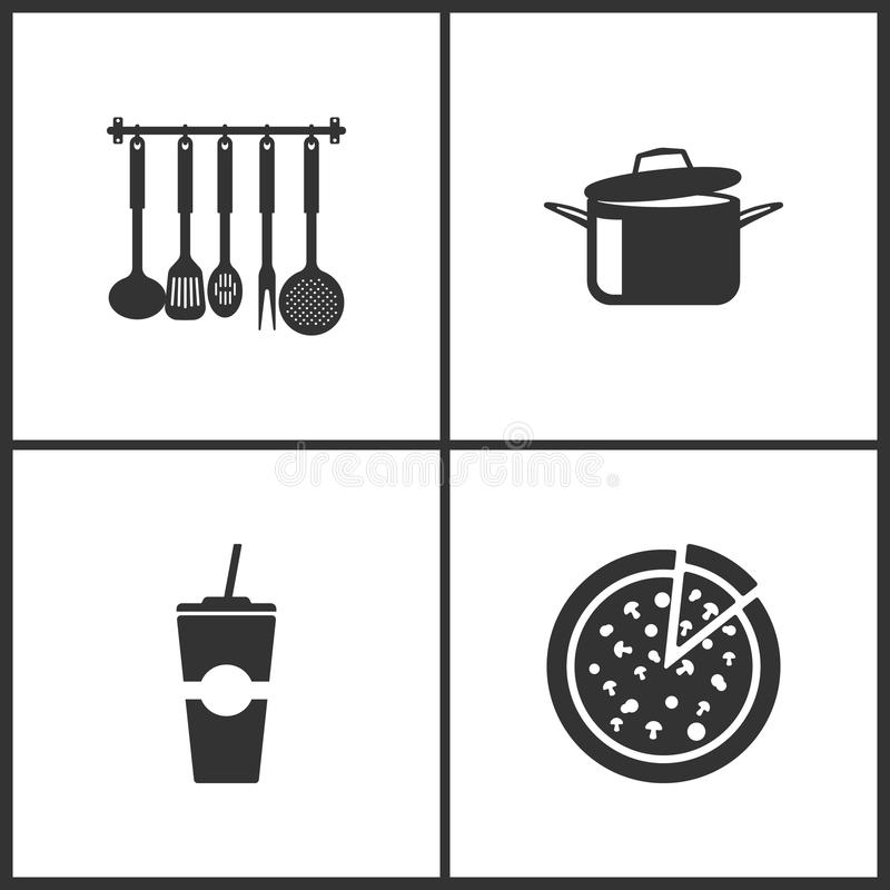 Иллюстрация вектора установила медицинские значки Элементы утварей кухни, варя лотки, бумажную чашку фаст-фуда и значок пиццы бесплатная иллюстрация
