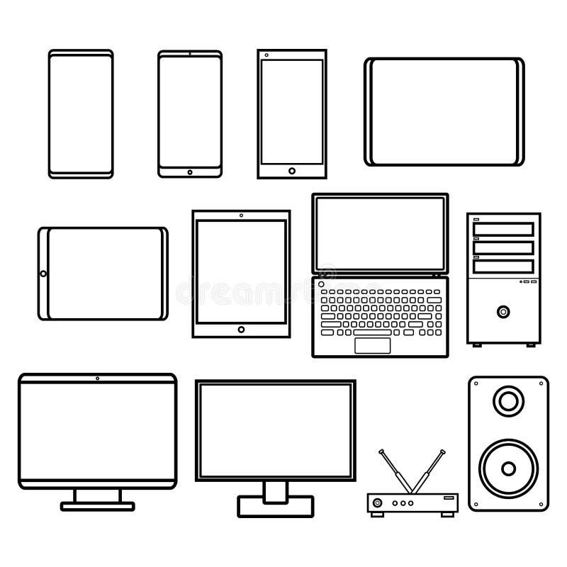 Иллюстрация вектора установила черно-белого плоского значка простых современных цифровых модемов мониторов компьютеров смартфонов иллюстрация вектора