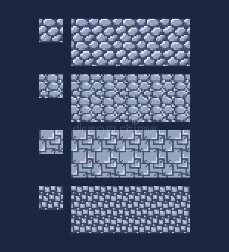 Иллюстрация вектора - установите 8 текстуры кирпича каменной стены бита 16x16 Картина предпосылки игры стиля искусства пиксела бе бесплатная иллюстрация