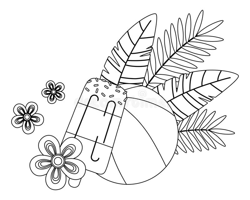 Иллюстрация вектора установленного дизайна значка лета и каникул иллюстрация штока
