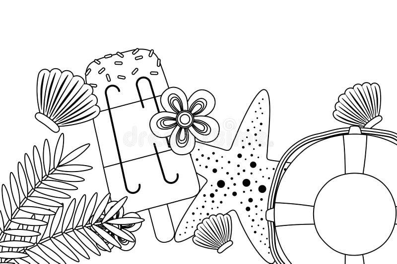 Иллюстрация вектора установленного дизайна значка лета и каникул бесплатная иллюстрация