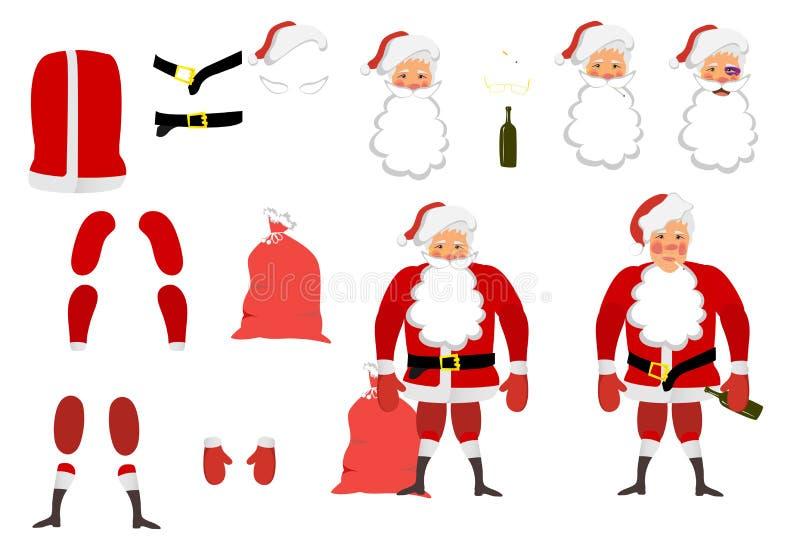 Иллюстрация вектора утомленного Санта Клауса установила для анимации Ha иллюстрация штока