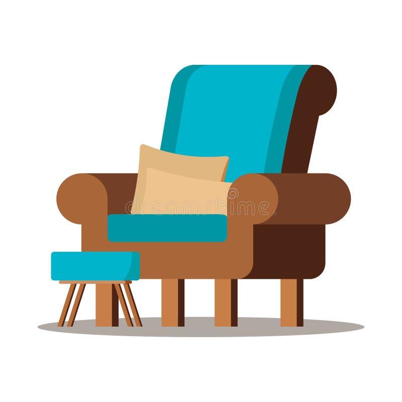 Иллюстрация вектора уютного коричневого стула с проложенной табуреткой с деревянными ногами иллюстрация вектора