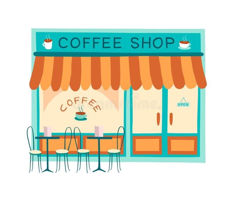 Иллюстрация вектора фасада кофейни плоская стоковое изображение