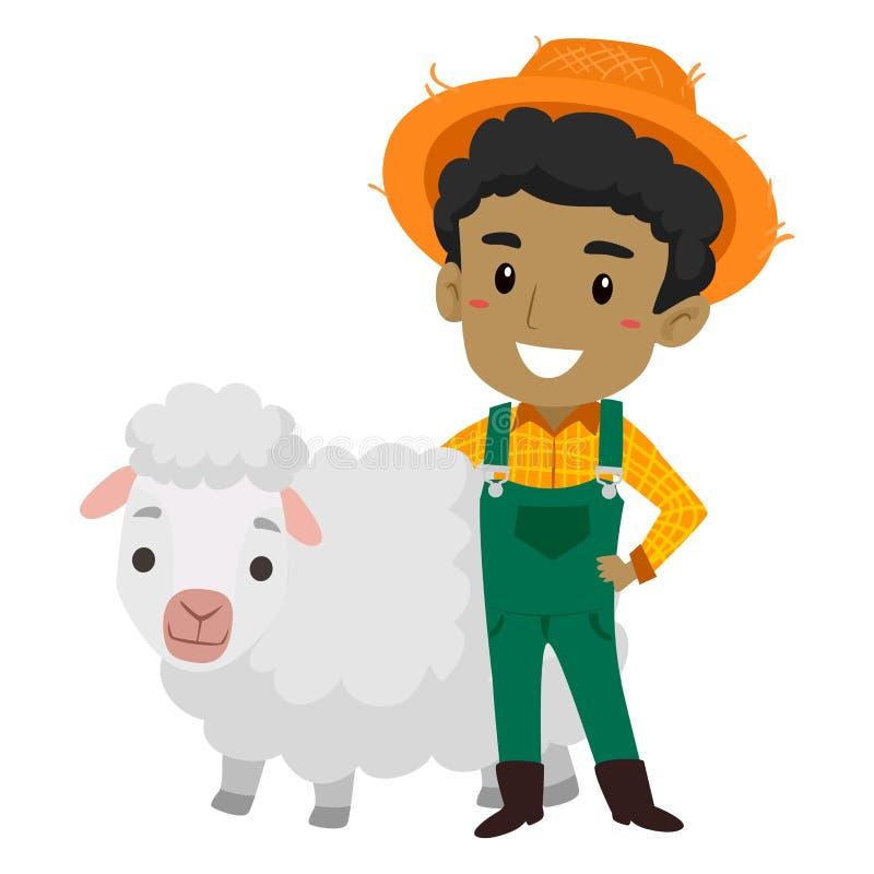 Иллюстрация вектора фермера с овцами иллюстрация вектора