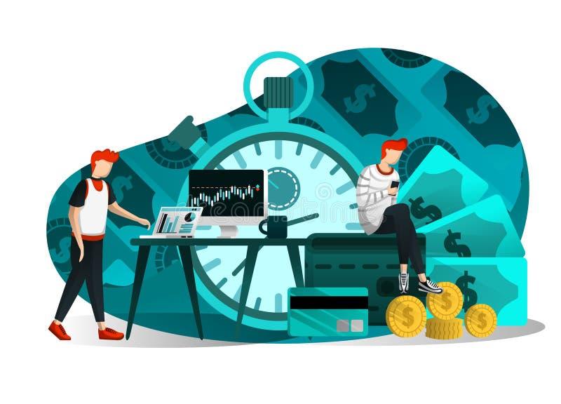 Иллюстрация вектора финансов, дела, валюты, исследования, образования вклада, времени деньги и выгода люди обращают внимание бесплатная иллюстрация
