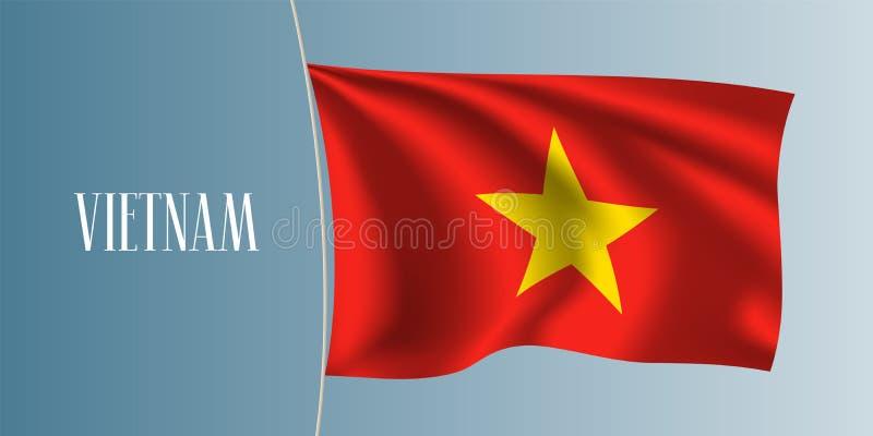 Иллюстрация вектора флага Вьетнама развевая иллюстрация штока