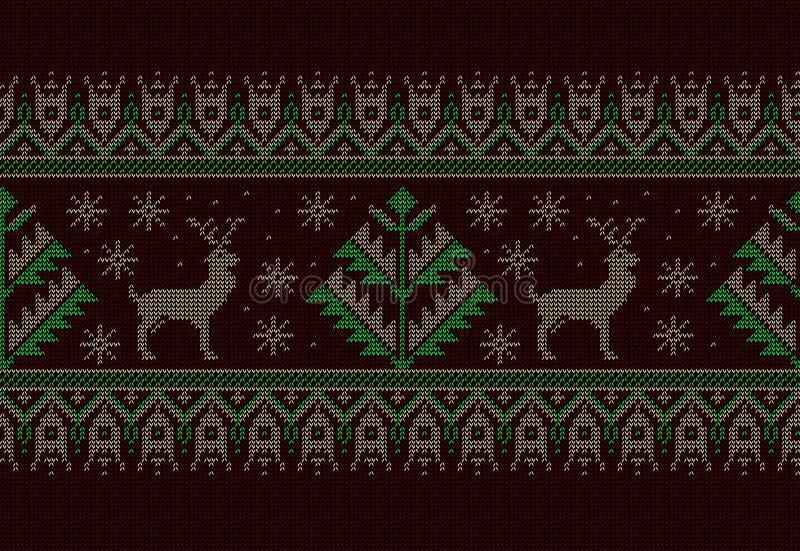 Иллюстрация вектора фольклорного безшовного орнамента картины Этнический орнамент зеленого цвета Нового Года с соснами и оленями  иллюстрация штока