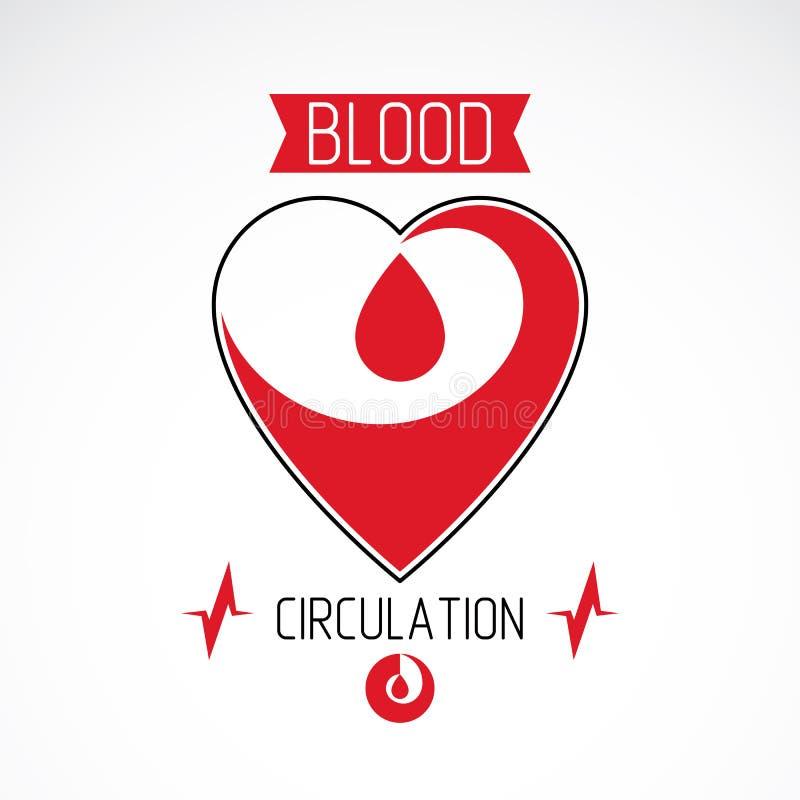 Иллюстрация вектора формы и капель крови сердца Cardio абстрактный логотип сделал с диаграммой ekg Медицинское обеспечение кардио бесплатная иллюстрация