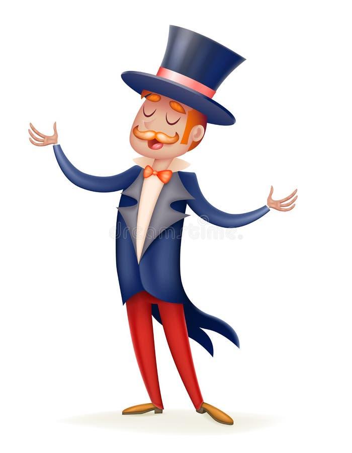 Иллюстрация вектора характера дизайна шаржа 3d шляпы цилиндра костюма человека мальчика хозяина выставки цирка изолированная знач иллюстрация штока