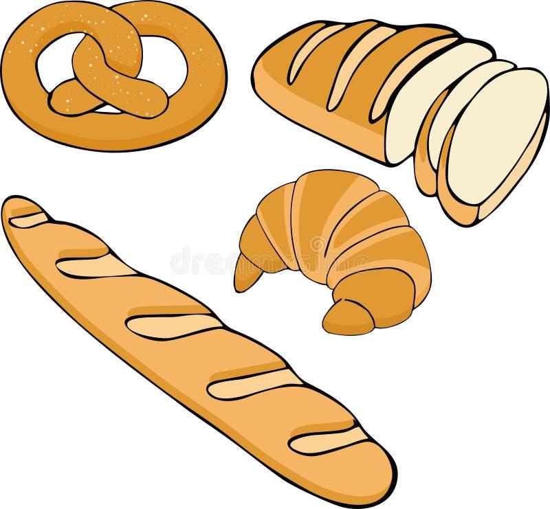 Иллюстрация вектора хлеба нарисованная рукой установленная Собрание хлебопекарни еды клейковины бесплатная иллюстрация
