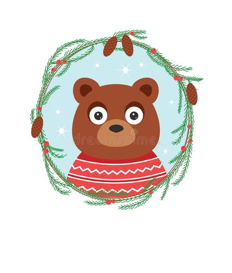 Иллюстрация вектора цвета медведя в свитере иллюстрация штока