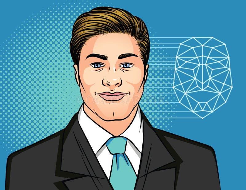 Иллюстрация вектора цвета портрета человека в деловом костюме на голубой предпосылке Успешный бизнесмен в костюме с ti иллюстрация штока