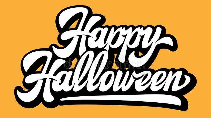 Иллюстрация вектора цветов с каллиграфической надписью Happy Halloween иллюстрация вектора
