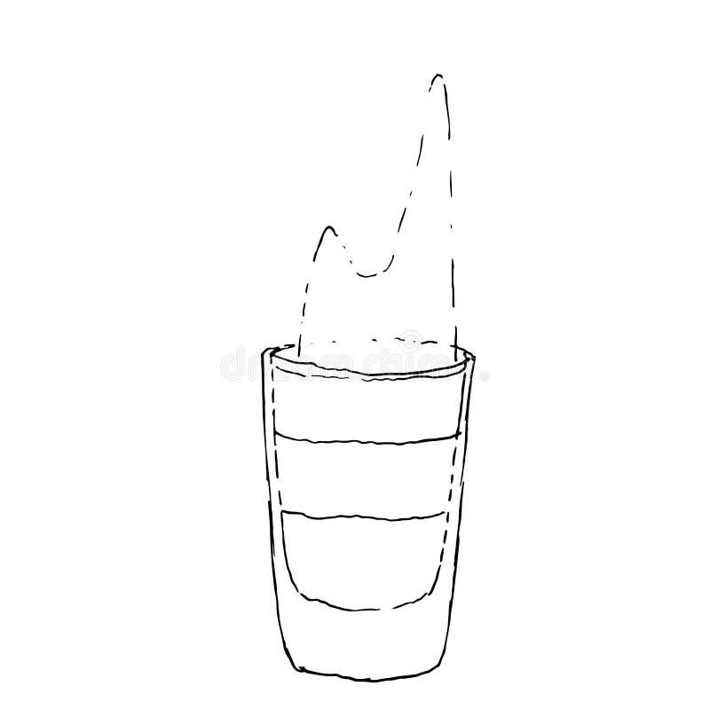 Иллюстрация вектора цифров пламенеющей съемки коктейля B-52 рисуя Стекло на белой изолированной предпосылке иллюстрация штока