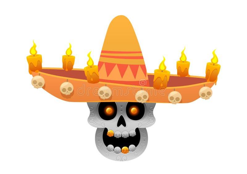 Иллюстрация вектора черепа сахара шаржа мексиканская для Dia de los Muertos с шляпой sombrero стоковое изображение rf
