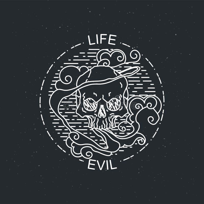 Иллюстрация вектора черепа черно-белой татуировки графического человеческого бесплатная иллюстрация