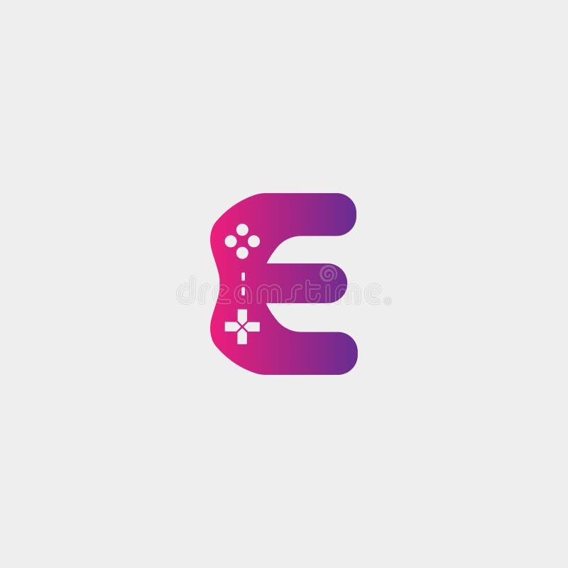 иллюстрация вектора шаблона дизайна логотипа игры письма e, элемент значка gamepad иллюстрация вектора