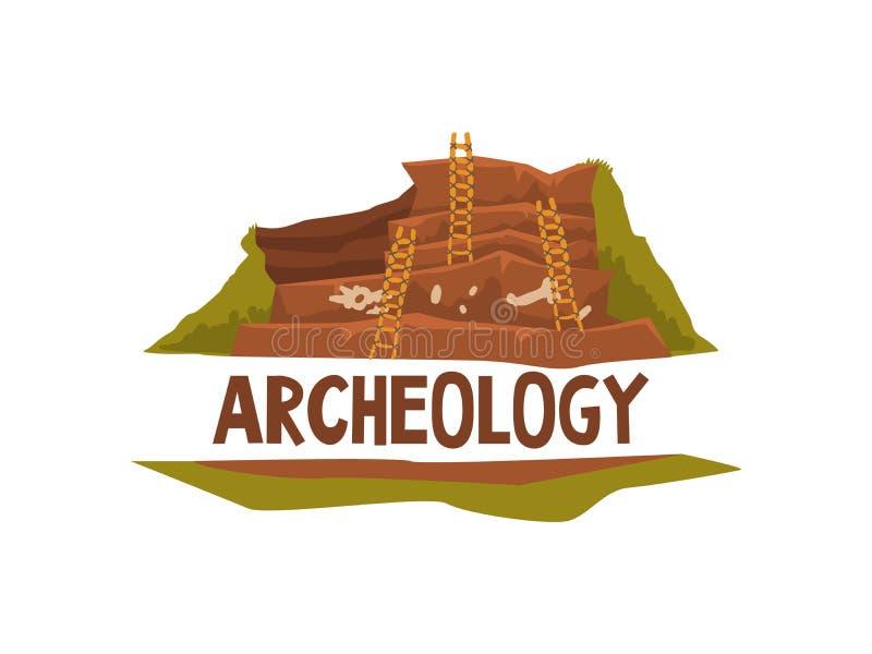 Иллюстрация вектора шаблона знамени плаката науки археологии иллюстрация вектора