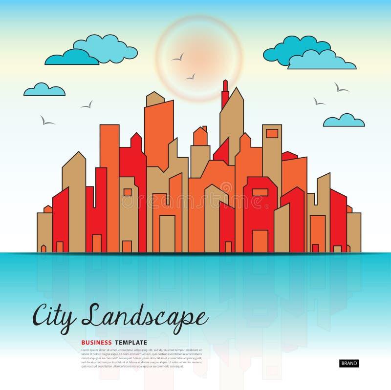Иллюстрация вектора шаблона ландшафта города, городской ландшафт с высокими небоскребами, знамя сети, здания правительства иллюстрация штока