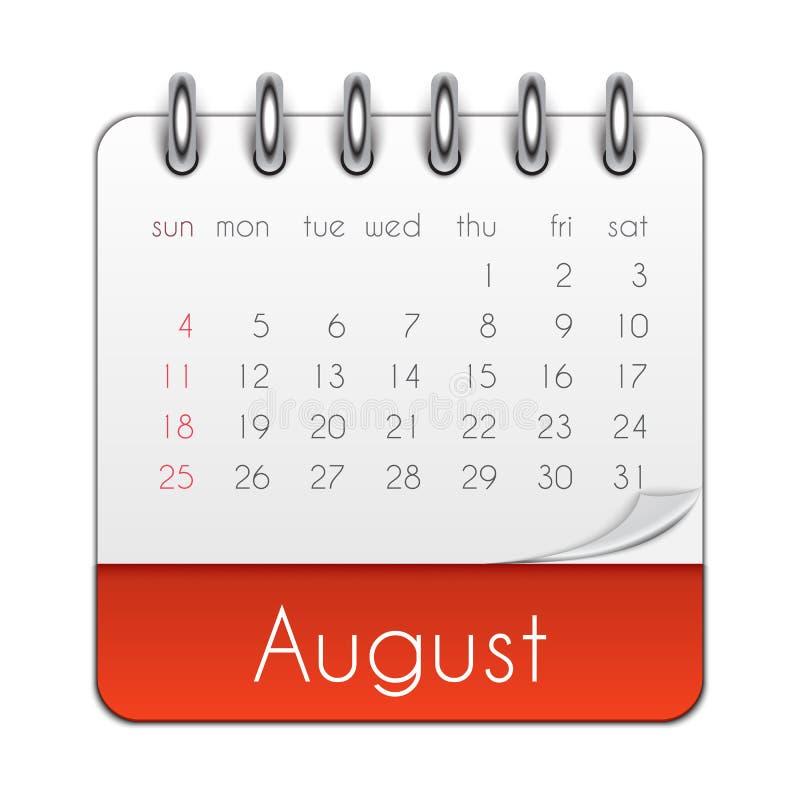 Иллюстрация вектора шаблона лист календаря августа 2019 иллюстрация штока