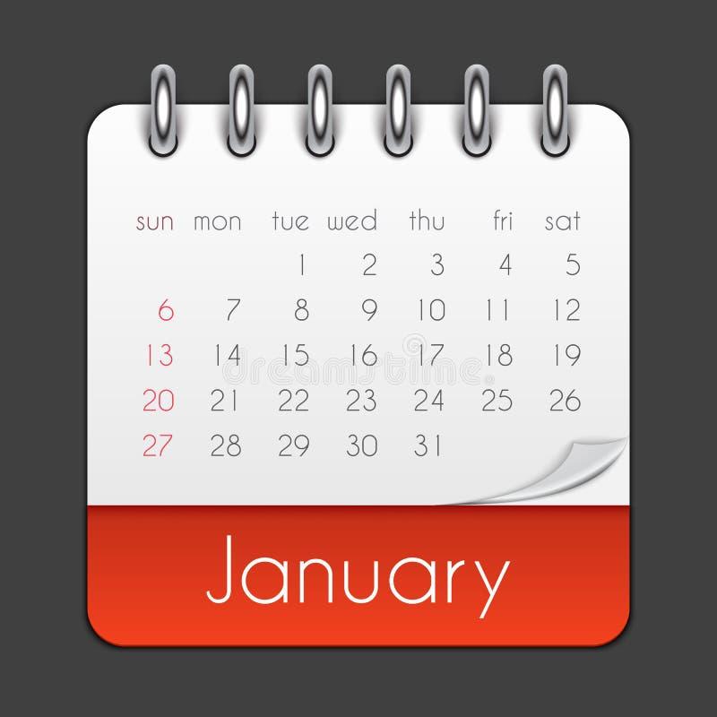 Иллюстрация вектора шаблона лист календаря января 2019 иллюстрация штока