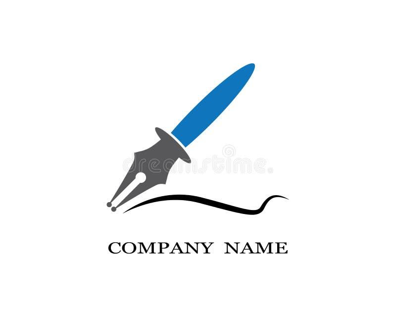Иллюстрация вектора шаблона логотипа ручки пера иллюстрация вектора