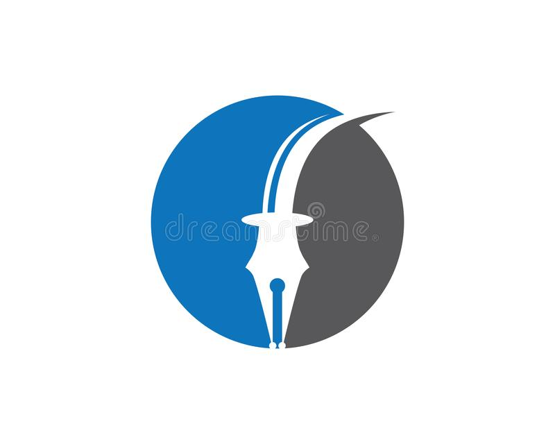 Иллюстрация вектора шаблона логотипа ручки пера иллюстрация штока