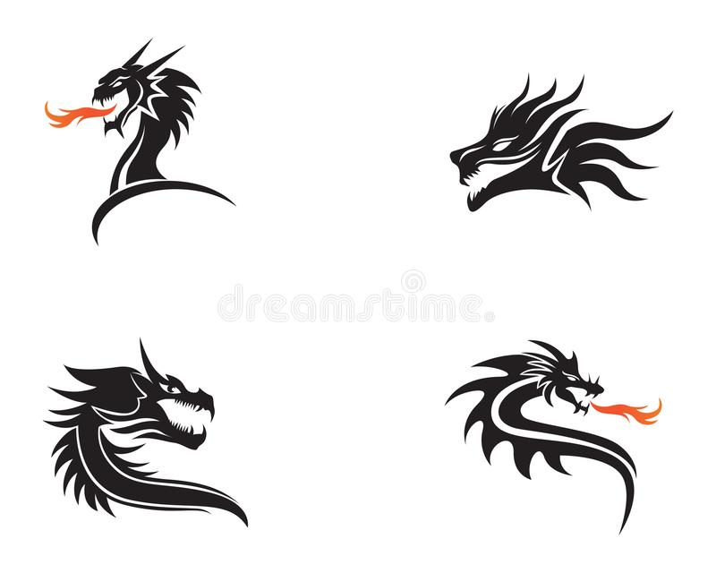 Иллюстрация вектора шаблона логотипа цвета головного дракона плоская иллюстрация штока