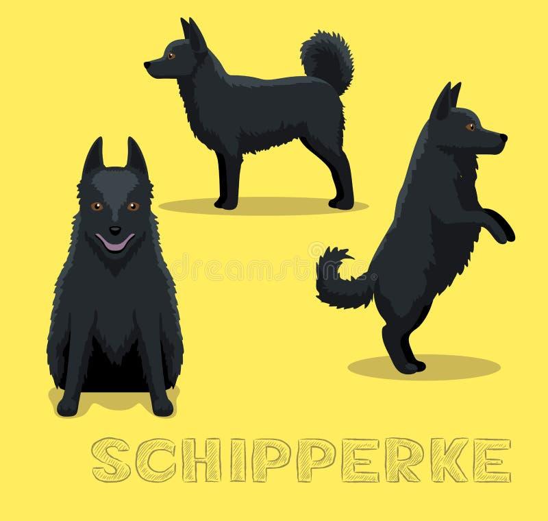 Иллюстрация вектора шаржа Шипперке собаки иллюстрация штока